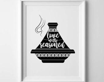 Tagine pot, moroccan tagine, moroccan print, kitchen decor, kitchen wall decor, kitchen prints, kitchen signs, kitchen wall art, kitchen art