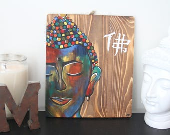 Boho Buddha Original Painting on Barnwood *Hand-Painted
