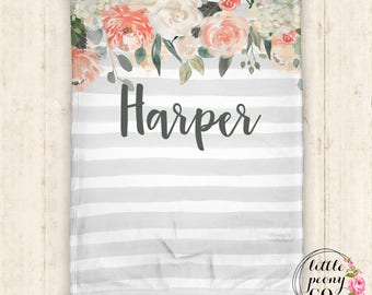 Personalized Baby Blanket - Personalized Blanket - Throw Blanket - Floral Blanket - Floral Baby Blanket - Floral Watercolor Pattern