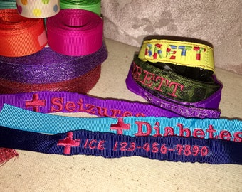 Medical ID Bracelet *Diabetes, seizures, allergy, ICE contact or Whatever you need! Elderly, Adult, Child, Special Needs, Alzheimers