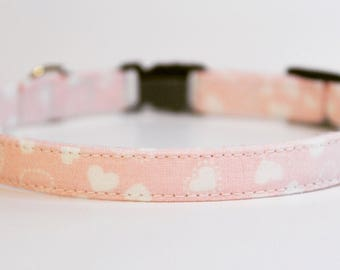 Cat Collar | Baby Pink with White Hearts | Handmade | Adjustable