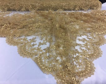 Bridal Wedding Mesh Lace Fabric Gold. Sold By Yard