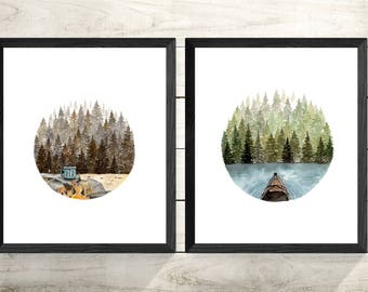 Outdoors Camping Original Watercolour Painting Print Set- Giclee Archival 8X10 Artwork Prints- Rustic Cabin Home Decor Wall Art-
