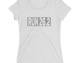 Women's Checkered Run 26.2 TriBlend T-Shirt - Marathon T-Shirt - Ladies Running T-Shirt - Sunrise Running Company