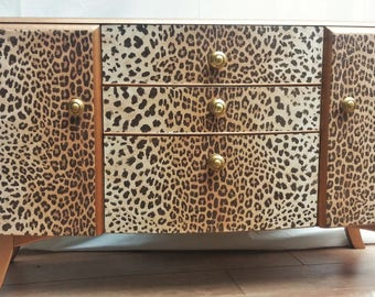 Fab upcycled retro vintage dressing table chest of drawers - leopard print