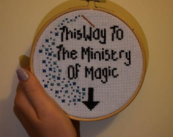 This Way To The Ministry Of Magic Cross Stitch, Harry Potter Inspired, Fantastic Beasts and Where To Find Them, Fireworks, Wand, Toilet, Loo