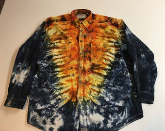 Tie Dye button down shirt long sleeved
