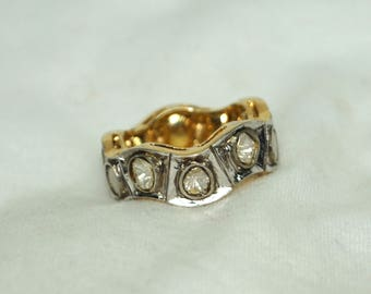 Victorian-style antique finish 2.55ctw rose cut uncut polki diamond Gold-plated silver ring cigar band - 2651714