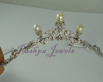 Vintage look 5.20ct. natural rose cut diamonds natural pearls sterling silver wedding hair tiara cum necklace multipurpose jewelry