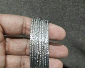 Victorian style 1.65cts rose cut diamonds sterling silver wedding thin bangle bracelet - SKU RSU003
