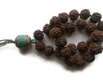 Tibetan Buddhist rudraksh and turquoise hand mala (example)