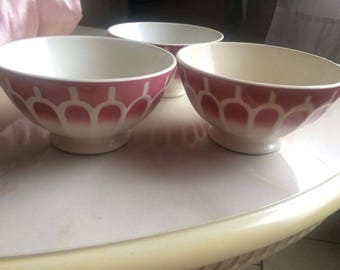 Set of 3 ribbed bowls with gadroons arches