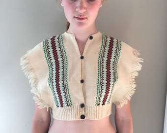 Vintage crop top, vintage top, woven with fringe, BOHO crop top