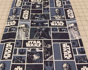 Star Wars Fabric, 1.5 yards, Darth Vader, C3PO, R2D2, Blue, Characters, Block, Eugene Textiles, Clothing, Cotton, Woven, Fabric by Yard