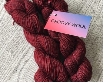 BEETROOT. DK Merino superwash yarn with silk in a beautiful shade of red.