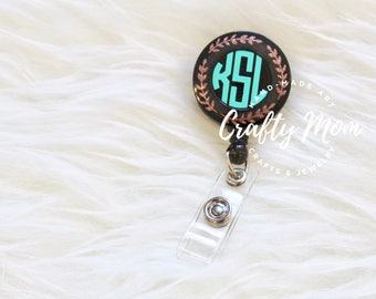 Personalized Monogram ID Badge Reel with Clip