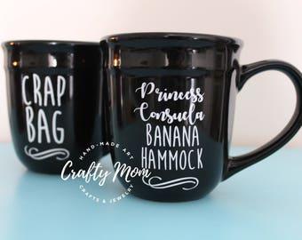 Friends Inspired Coffee Mug Set Crap Bag & Princess Consuela Banana Hammock