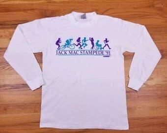 Vintage 90s 1991 Jack Mac Stampede Double Sided Us West Marathon Vaporwave Long Sleeve T Shirt Size Large