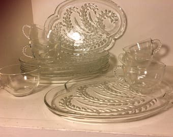 Vintage Federal Glass Plate Sets Anchor Hocking