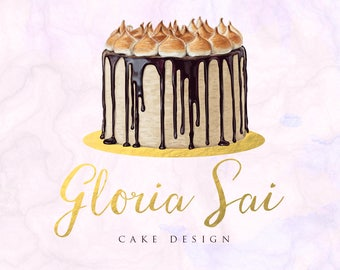 Hand-painted Watercolor Realistic Luxurious dripping Chocolate Vintage Cake Pre-made Logo Design