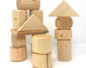 Timber Log Blocks, 15 Piece Block set, Wooden Blocks