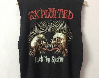 SALE ! Vintage THE EXPLOITED punk ,fuck the system big logo fullprint both tank