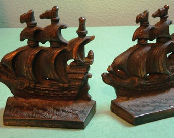 Vintage Ship Bookends Pair Cast Iron Ship Bookends with hint of  bronze finish