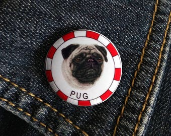 Pug Dog Breed Pin Button Badge 1inch/25mm