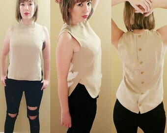 Vintage Giorgio Armani Beige Blouse with Button Back Size 6