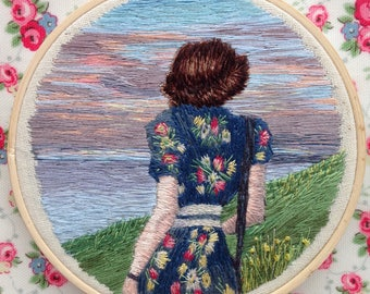 Woman and the Sea Hand Embroidered Thread Painting