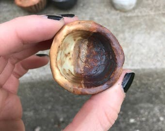 tiny cream and rust cup