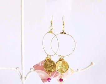 Statement Batik Hoop Earrings (Pink Lemonade)