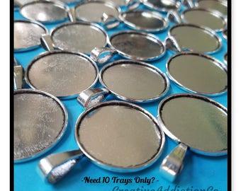 10, 25mm, Silver Pendant Trays, Photo Jewelry, Pendant Making, Use Glass Cabochons, Glass Half Dome, Glass Pendants, Pendant Making
