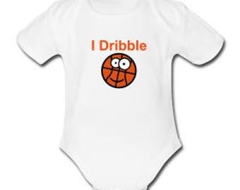 I Dribble Short Sleeve printed White Baby Bodysuit
