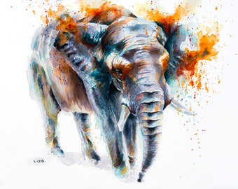 Burning Savanna Elephant African Original Watercolor Painting High Quality Giclée PRINTcanvas home decor office nursery animal art gift
