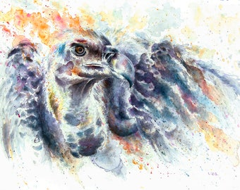Burning Savanna Vulture Original Watercolor Painting High Quality Giclée PRINTcanvas home decor office nursery animal art gift africa Phenix