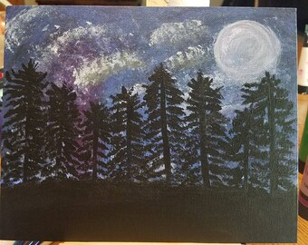 Artwork/Dreary night, full moon, dark forest/hand-painted - excellent gift for him!