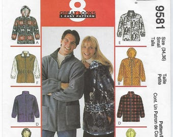 McCalls 9581 - MISSES & MENS Unisex Jacket / Size Small (34,36)