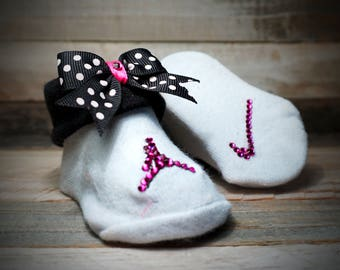 Genuine Swarovski Crystal Baby Shoe/Booties with Matching Pink and white Zebra Headband