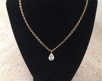 Vintage Gold Tone Chain with Clear Rhinestone Pendant