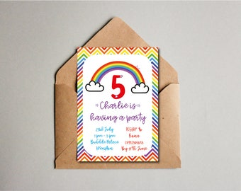 Rainbow Chevron Birthday Party Invite, Children's Birthday Invite, 5th Birthday, Kids Birthday, Custom Printable