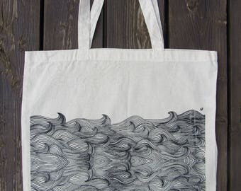 Awesome hand made designed tote bag! Wave pattern~