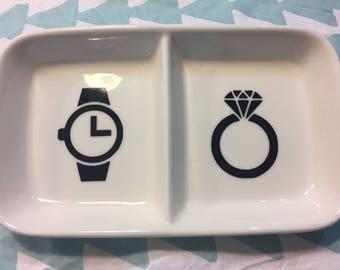 Watch and Ring Trinket Tray, Trinket Dish, Jewellery Dish, Birthday Gift, Engagement Gift, Wedding Gift, Anniversary Gift