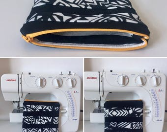 Handmade Black Canvas Zipped and Lined Make-Up Bag with Aztec Monochrome Print