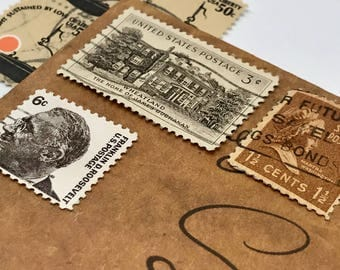 7 used vintage Assorted Brown USA vintage postage stamps | Perfect for scrapbooking, stamp collecting, snail mail art, and crafting