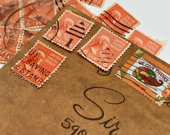 14 used vintage John Quincy Adams vintage postage stamps | Perfect for scrapbooking, stamp collecting, snail mail art, and crafting