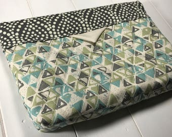 Self Closing Diaper Clutch - Blue and Green Triangle clutch, gray polka dots Nappy Bag