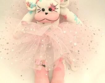 Floral sparkle sock monkey. Sock animal. Sock monkey with tutu. baby toy. Cuddly toy. Soft toy. Plushe. Novelty socks