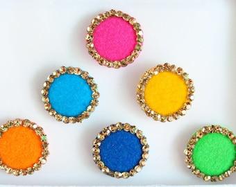 Big Colorful Round Bindis ,Round Bindis,Velvet Colorful Bindis,Colorful Face Jewels Bindis,Bollywood Bindis,Self Adhesive Stickers