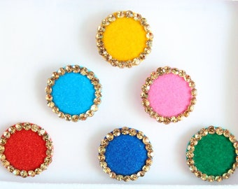 Round Multicolored Bindis ,Round Bindis,Velvet Colorful Bindis,Wedding Round Face Jewels Bindis,Bollywood Bindis,Self Adhesive Stickers Pack